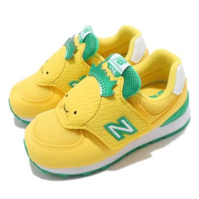 New Balance 休閒鞋 574 Wide 寬楦 運動 童鞋 紐巴倫 魔鬼氈 鳳梨造型 小童 穿搭 黃 綠 IV574FRCW