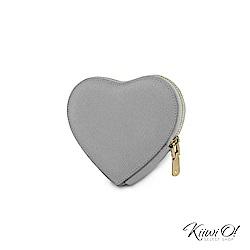 Kiiwi O! 真皮十字紋心型鑰匙包 Heart 灰