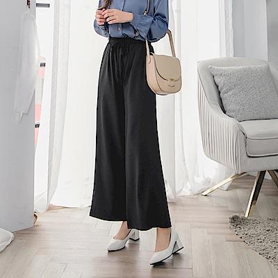 立體線條鬆緊綁帶純色西裝直筒褲-OB大尺碼