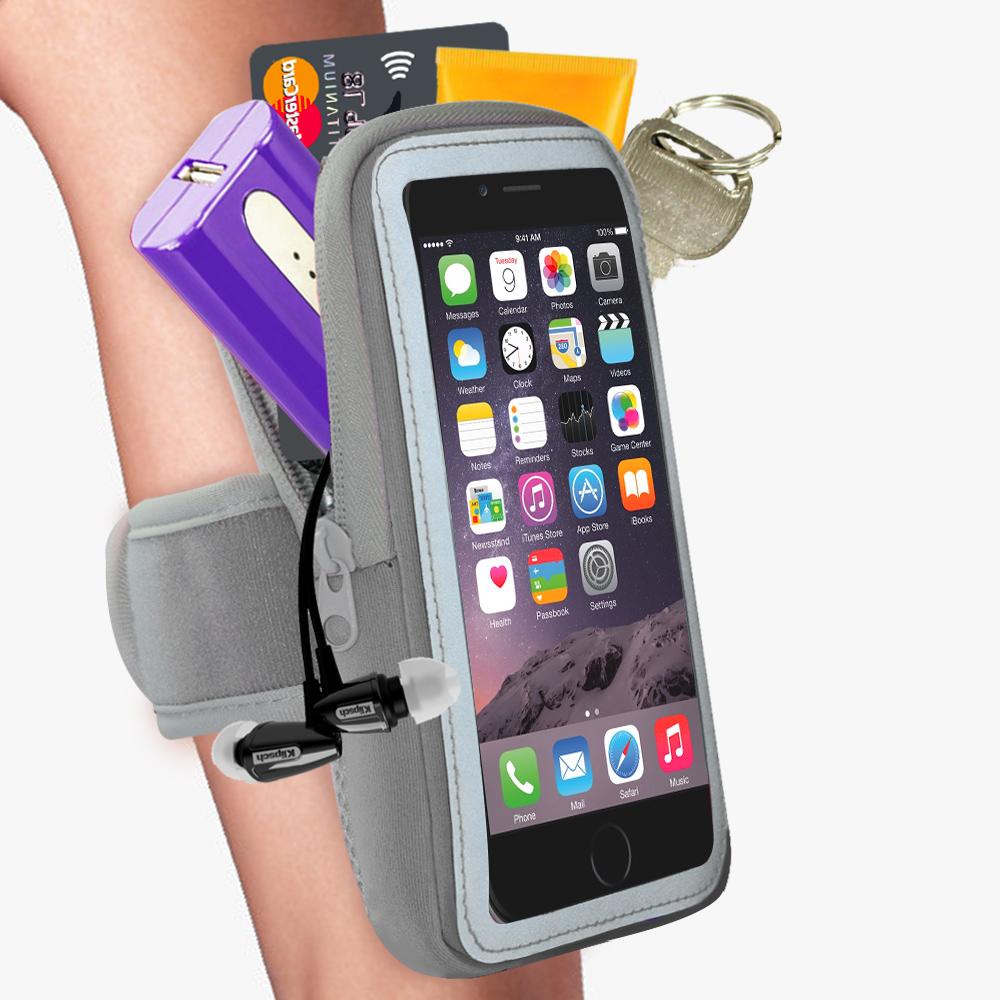 活力揚邑 雙層運動手機臂套-防水反光觸控5.7吋以下通用-灰
