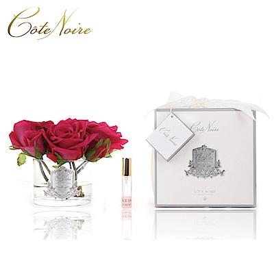 法國 CoteNoire 蔻特蘭 五朵紅玫瑰香氛花透明瓶