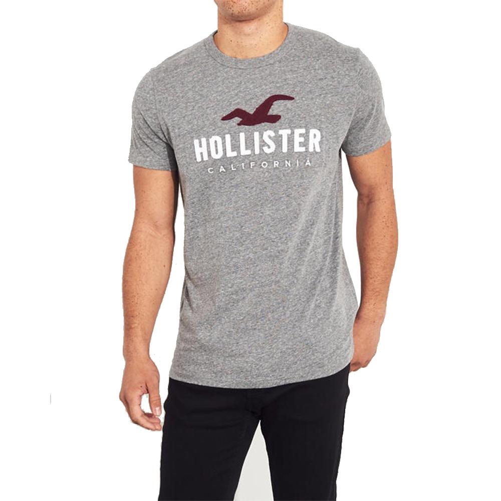 海鷗 Hollister HCO 經典刺繡大海鷗文字短袖T恤-灰色