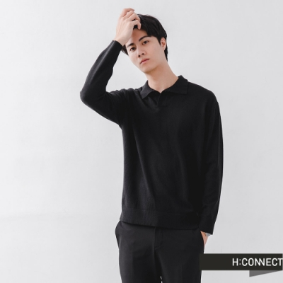H:CONNECT 韓國品牌 男裝- 純色落肩針織長袖上衣-黑色