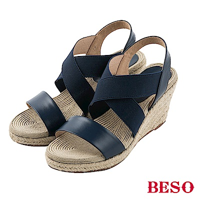 BESO 清夏涼感 真皮拼接交叉鬆緊帶露趾編織楔型涼鞋~藍