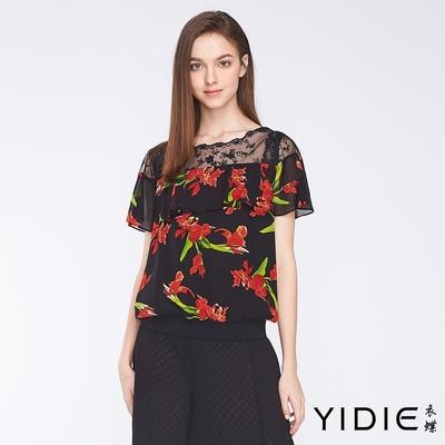 YIDIE衣蝶 花朵雪紡拼接透紗蕾絲短袖上衣-黑