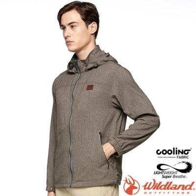 Wildland 荒野 0A81910-105摩卡色 男可溶紗環保吸排外套 抗UV/吸排透氣/登山休閒/遮陽夾克/薄風衣