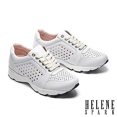 休閒鞋 HELENE SPARK 時尚運動風打洞牛皮綁帶厚底休閒鞋-白