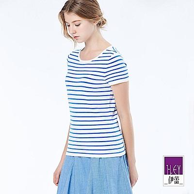 ILEY伊蕾 簡約舒適條紋針織上衣(黑/粉/水/灰)