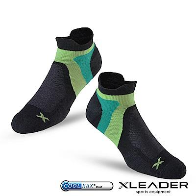 LEADER ST-02 X型繃帶加厚耐磨避震短襪除臭運動襪 男款 黑綠