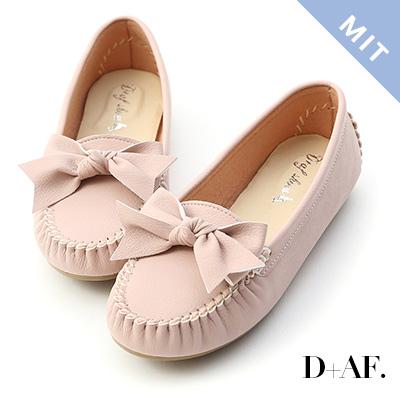 D+AF 可愛印象.MIT立體蝴蝶結莫卡辛豆豆鞋*粉