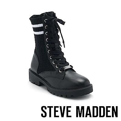 STEVE MADDEN-HITCH運動風伸縮帶綁帶中筒靴-黑色