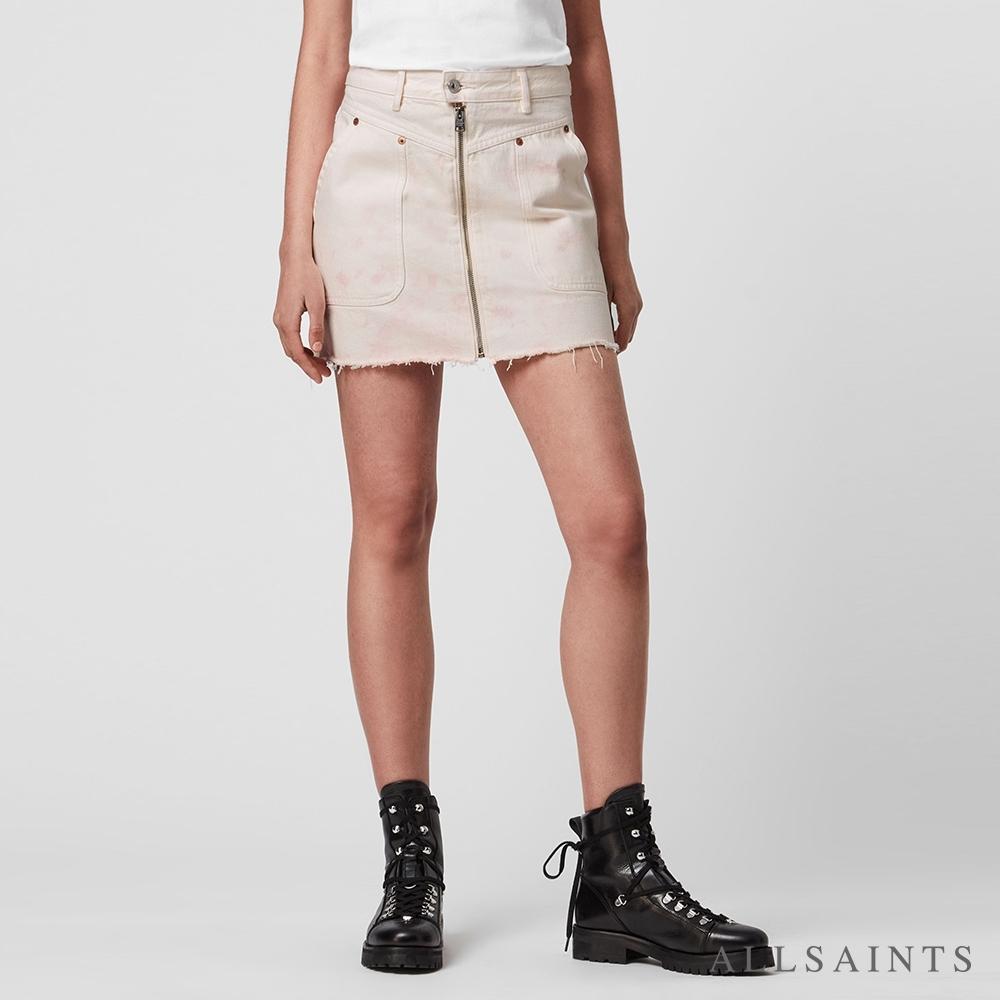 ALLSAINTS ELMA 獨特印染拉鍊造型純棉牛仔短裙-白/粉