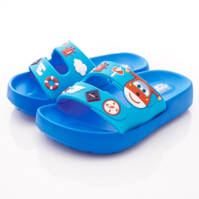 SUPER WINGS 卡通休閒拖鞋款 SNI4715藍(中小童段)