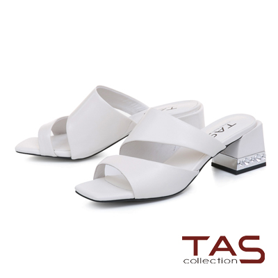 TAS素面曲線羊皮金屬粗跟涼拖鞋-焦點白