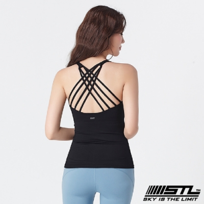STL yoga Bra top Skyline 韓國瑜伽 自然美型 運動機能背心(專利記憶棉胸墊) 天際線 黑Black