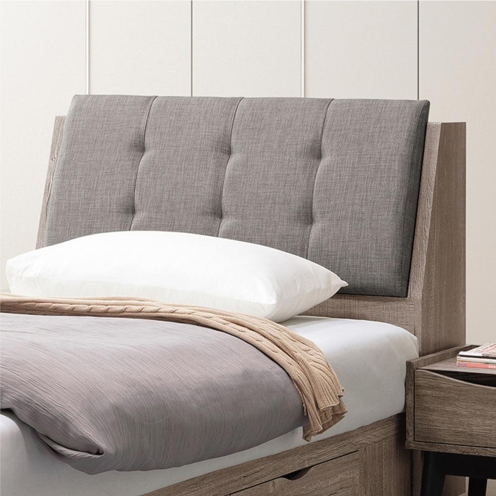 文創集 多米尼克 現代3.5尺亞麻布單人床頭箱(不含床底+不含床墊)-106.5x30x98cm免組