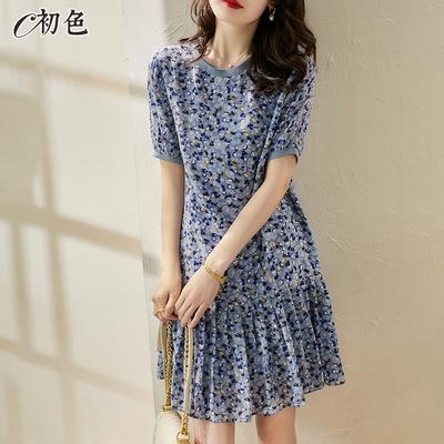 初色  復古碎花百褶裙洋裝-藍色-(M-2XL可選)