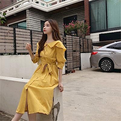 DABI 韓國風荷葉領質感舒適百搭長袖洋裝