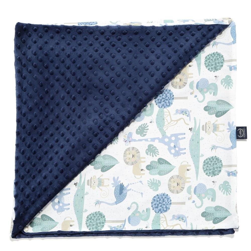 La Millou 單面豆豆巧柔毯(加大款)-動物探險隊(藍底)-勇氣海軍藍