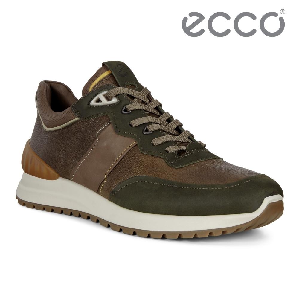 ECCO ASTIR 雅躍型男拼接皮革運動休閒鞋 男鞋 深綠色