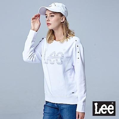 Lee LEE圓領釘扣開肩設計長袖厚TEE/BO-白色