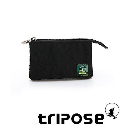 tripose 漫遊系列岩紋簡約微旅萬用零錢包 黑