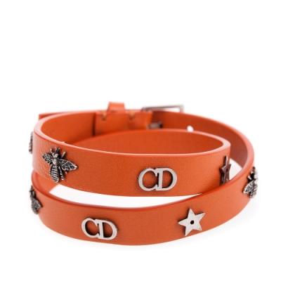 【時時樂】Dior J'adior Double Bracelet古銅金J'adior星星牛皮雙圈手環 (二色可選)