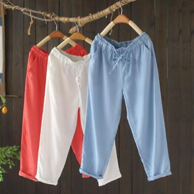 顯瘦鬆緊腰休閒褲百搭薄七分哈倫褲子-設計所在