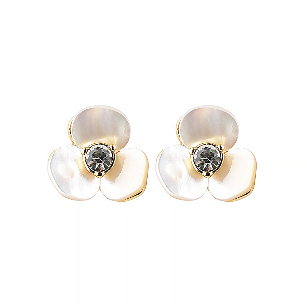kate spade經典三色堇設計鑽鑲飾穿式耳環(珍珠白)