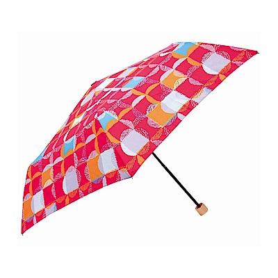 日本Prairiedog 晴雨兩用抗UV摺疊收納傘+多功能收納傘袋-方格(粉)