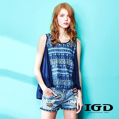 IGD英格麗 民俗風拼接造型上衣-藍色