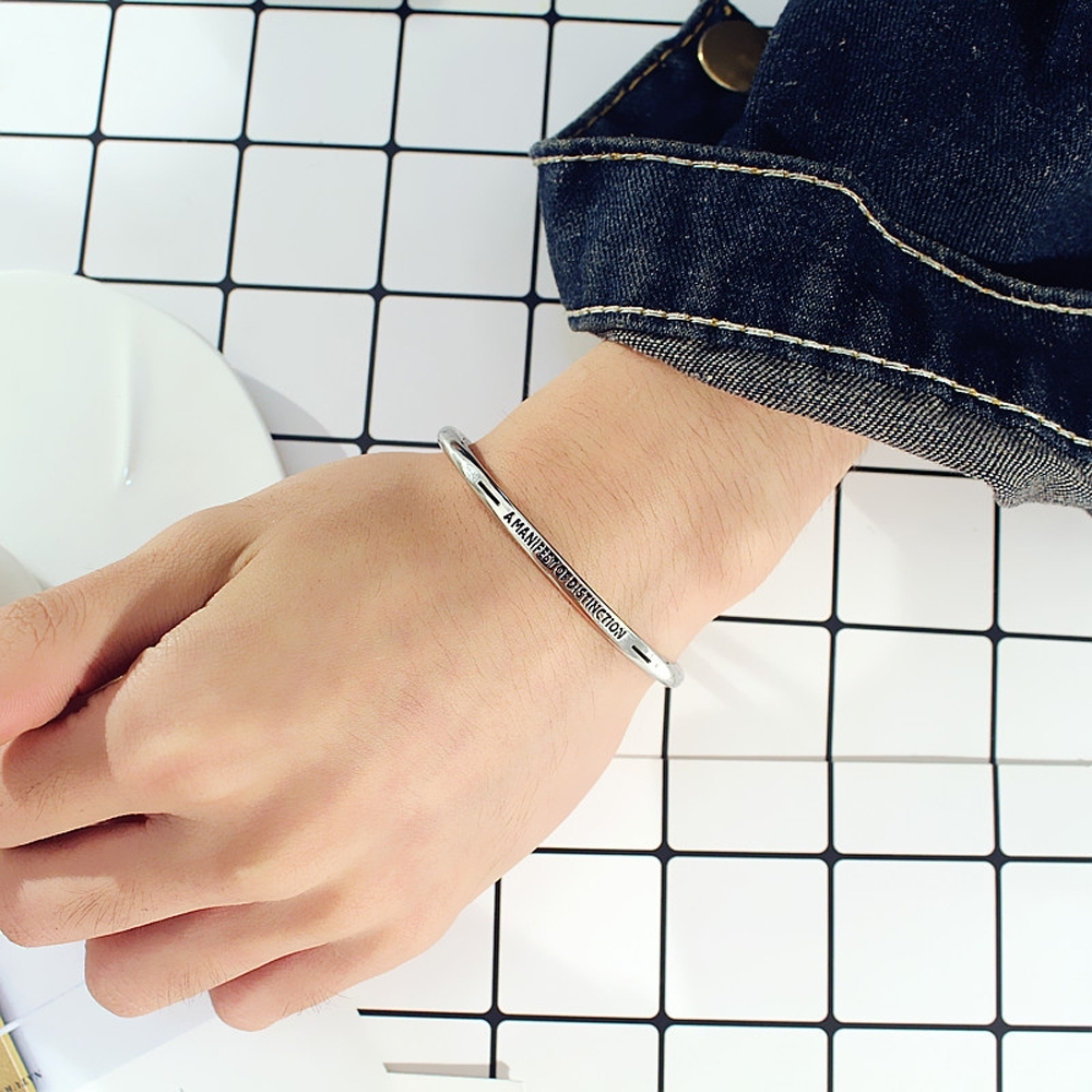 梨花HaNA 極簡銀色中性超實搭字母手環