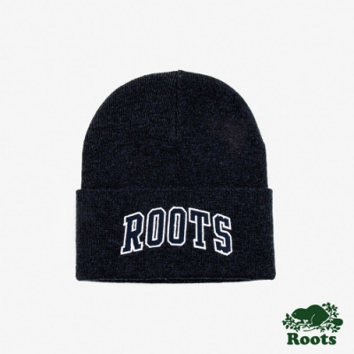 Roots配件-ROOTS字標針織帽-藍