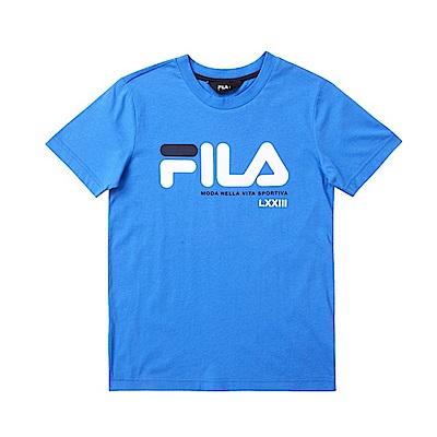 FILA KIDS 男童純棉上衣-藍 1TES-4901-BU