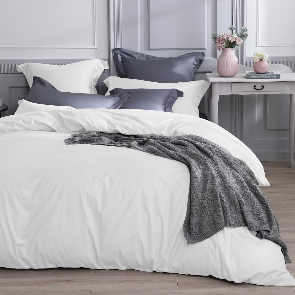 澳洲Simple Living 雙人天絲福爾摩沙被套床包組-台灣製(優雅白)