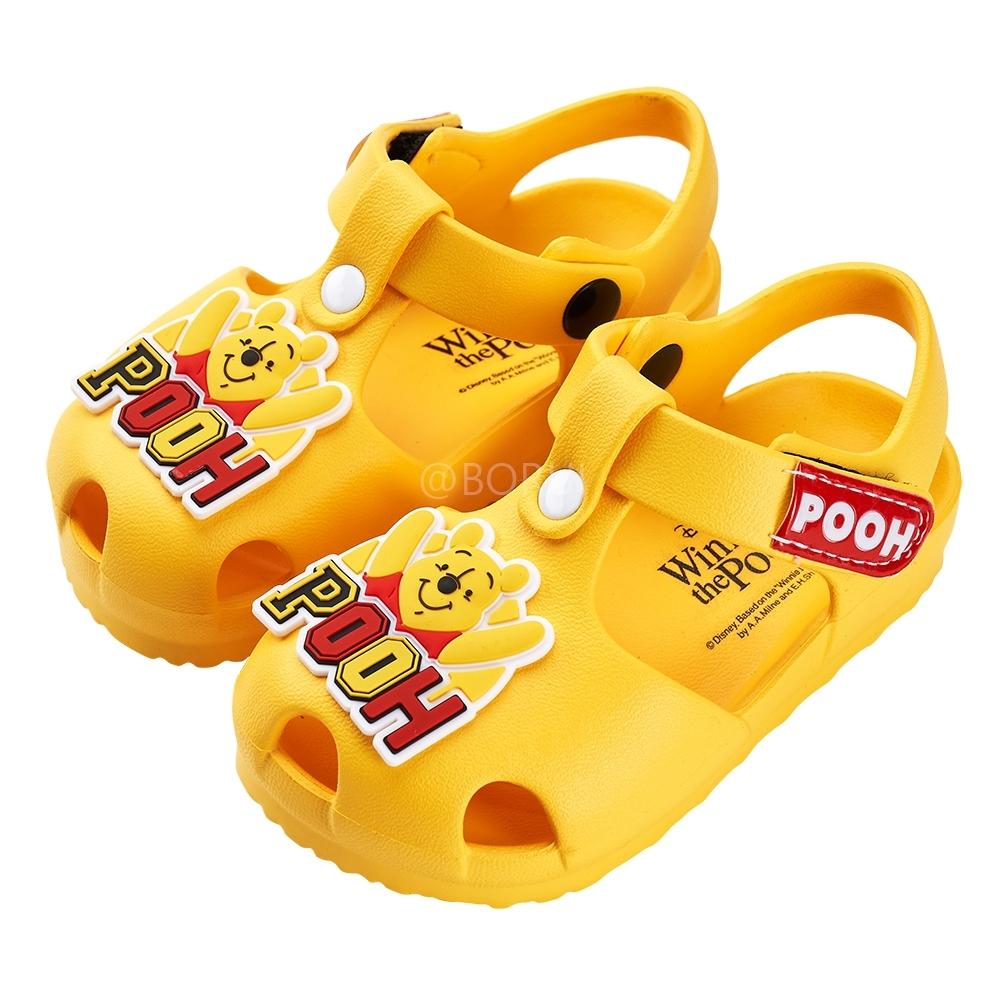 迪士尼童鞋 小熊維尼 立體造型護趾防水涼鞋-黃(柏睿鞋業)