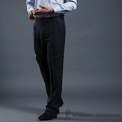 ROBERTA諾貝達 商務紳士 台灣製 羊毛條紋西裝褲 藍色