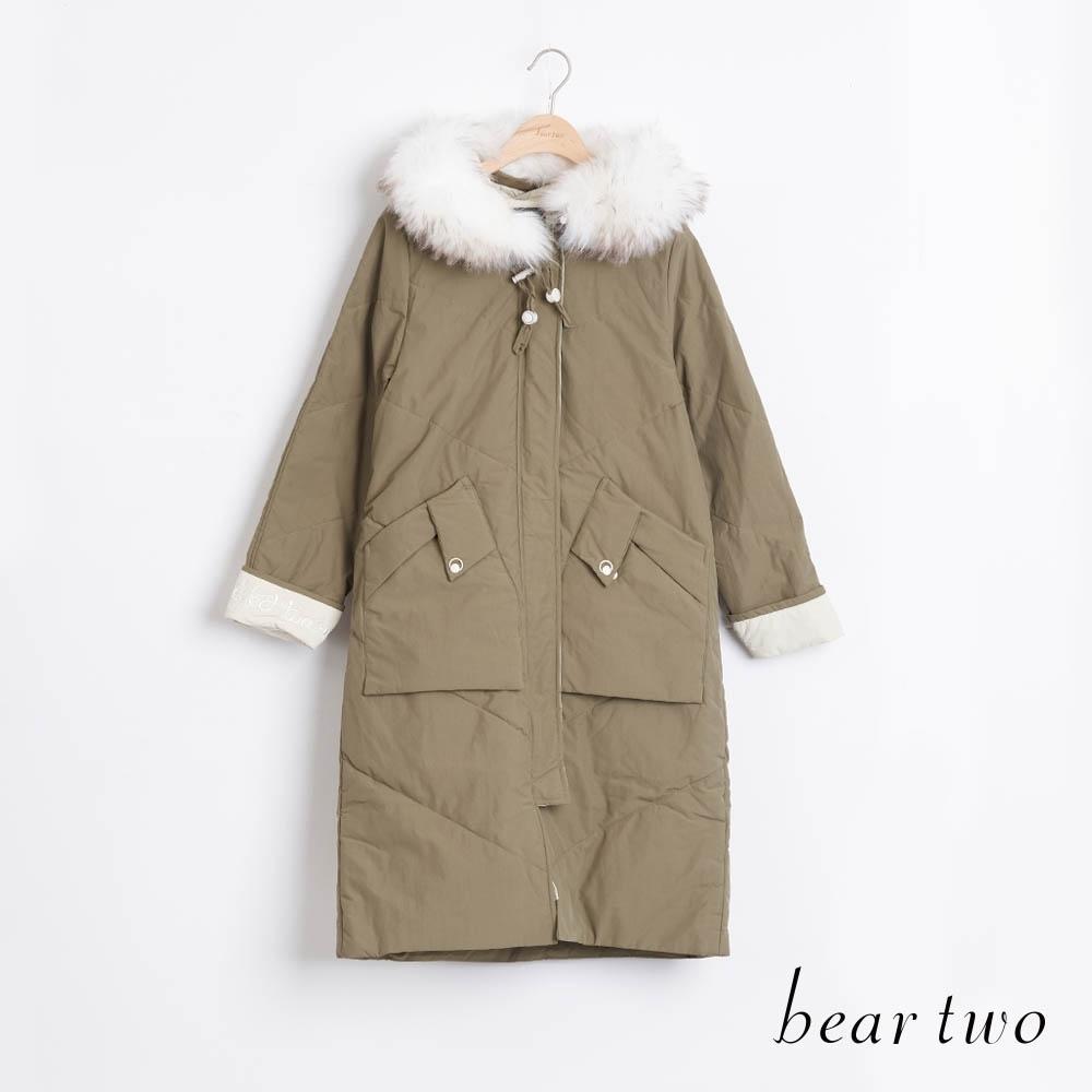 bear two- 浪漫白毛領長外套 - 綠