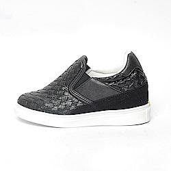 【AIRKOREA韓國空運】拼接編織皮革質感增高休閒鞋-黑