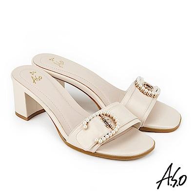 A.S.O 雅緻魅力  絨面羊皮拼接低跟涼拖鞋 米色