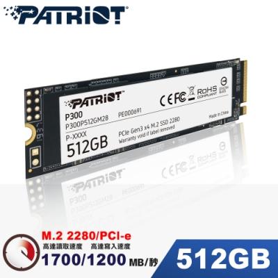 (6/20前再送3%超贈點)Patriot美商博帝 P300 512GB M2.2280 PCIe SSD固態硬碟