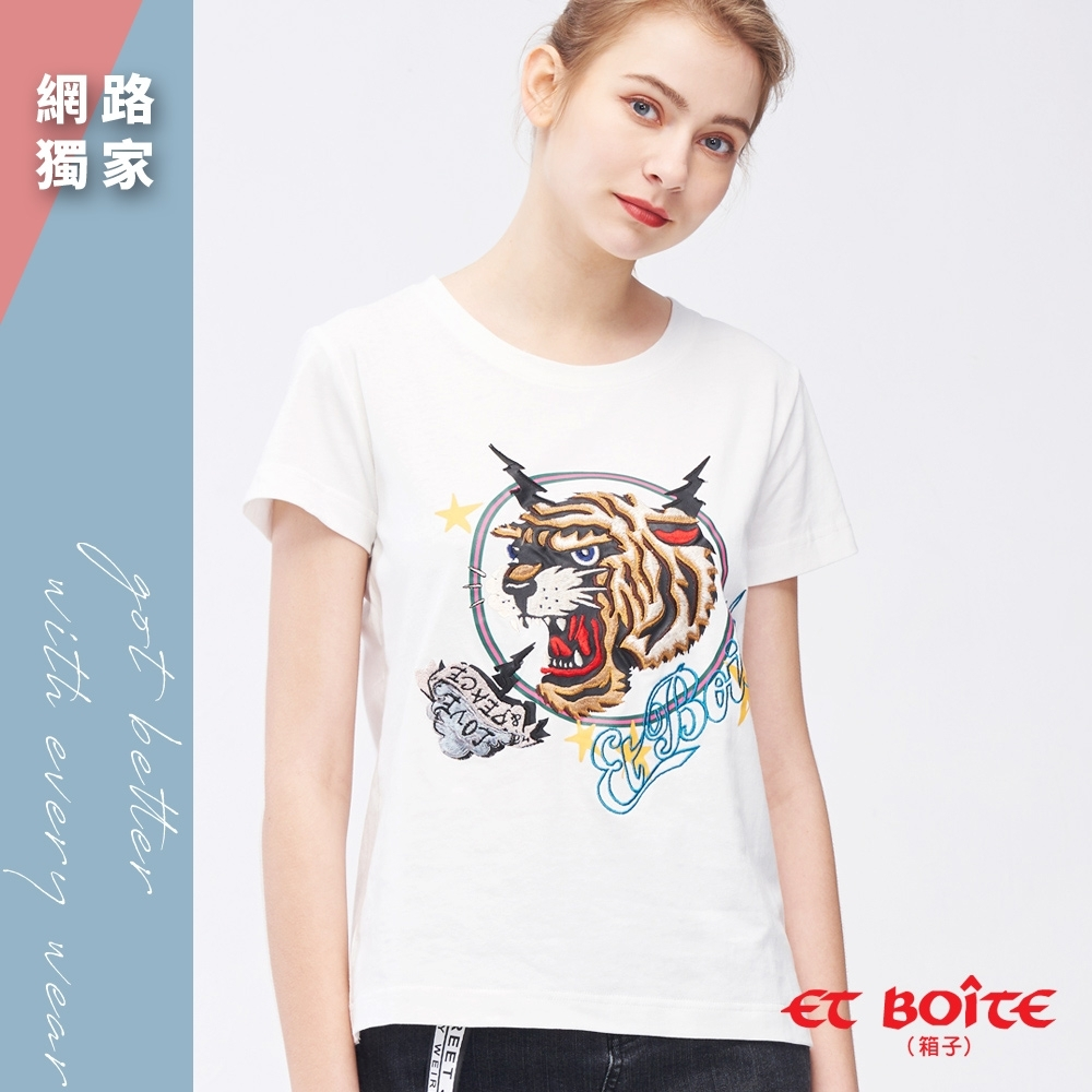 ETBOITE 箱子 刺繡虎頭圓領TEE(白)