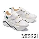 休閒鞋 MISS 21 前衛復古交織拼接設計條帶超厚底休閒鞋-白