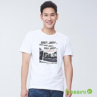 bossini男裝-印花短袖T恤04白
