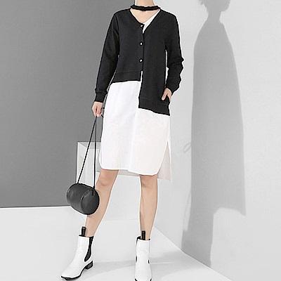 假兩件不規則拼接襯衫連身裙-(共二色)Andstyle