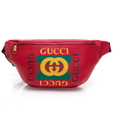 GUCCI 復古綠紅綠織帶牛皮腰包/斜背包(紅色-大)