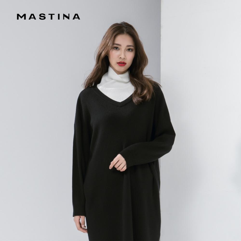 【MASTINA】簡約時尚V領長版-毛衣(三色)