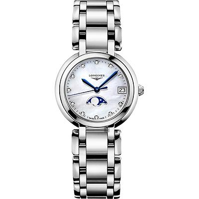 LONGINES 浪琴 PrimaLuna 新月真鑽月相石英女錶-珍珠貝/30mm