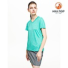 【hilltop山頂鳥】女款吸濕快乾抗UV彈性抗菌條紋T恤S04FH7淺綠