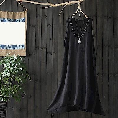 手工明線棉麻洋裝開衩內搭背心裙-設計所在